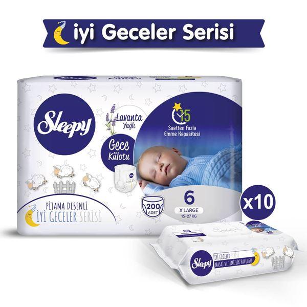 Sleepy Gece Külotu 6 Numara Xlarge 200 Adet + Lavanta Yağlı Masaj Ve Temizlik Havlusu 10X40