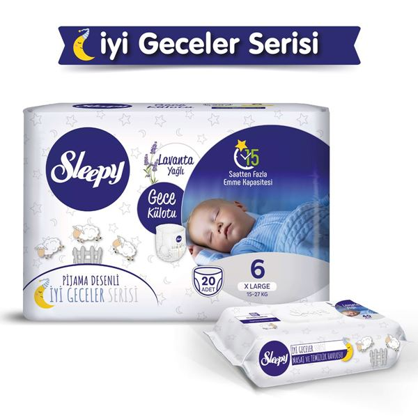 Sleepy Gece Külotu 6 Numara Xlarge 20 Adet+Lavanta Yağlı Masaj Ve Temizlik Havlusu 40 Yaprak