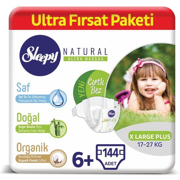 Resim Sleepy Natural Bebek Bezi 6+ Numara Xlarge Plus Ultra Fırsat Paketi 144 Adet
