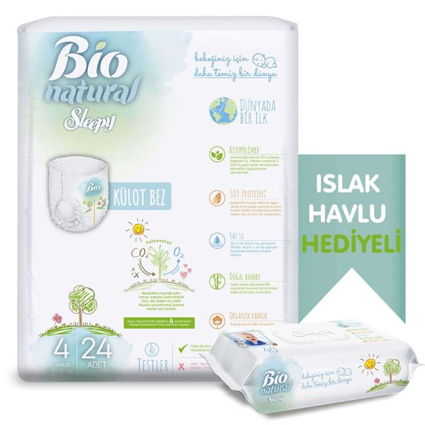 Bio Natural Külot Bez 4 Numara Maxi 24 Adet + Bio Natural Islak Havlu Hediyeli