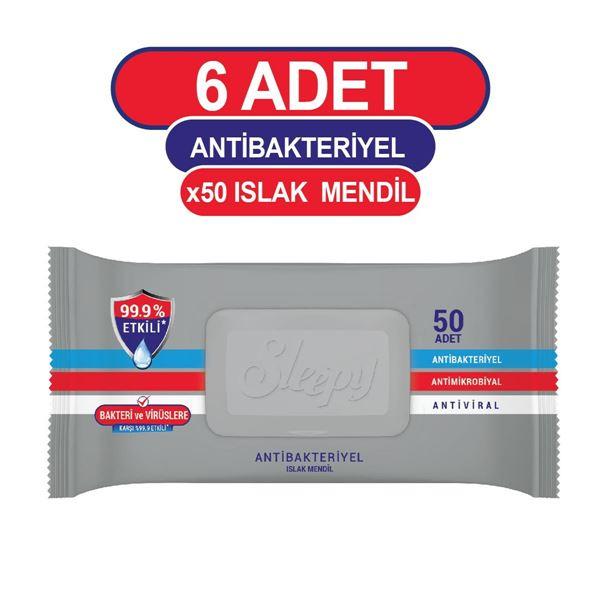 Sleepy Antibakteriyel Islak Havlu 6x50 Gri Paket