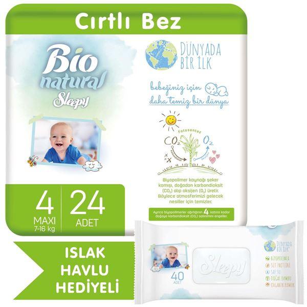 Bio Natural Bebek Bezi 4 Numara Maxi 24 Adet + Bio Natural Islak Havlu Hediyeli