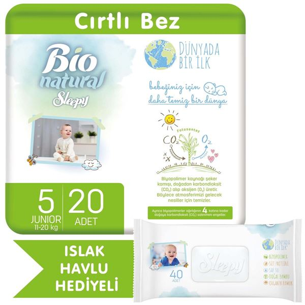 Bio Natural Bebek Bezi 5 Numara Junior 20 Adet + Bio Natural Islak Havlu Hediyeli