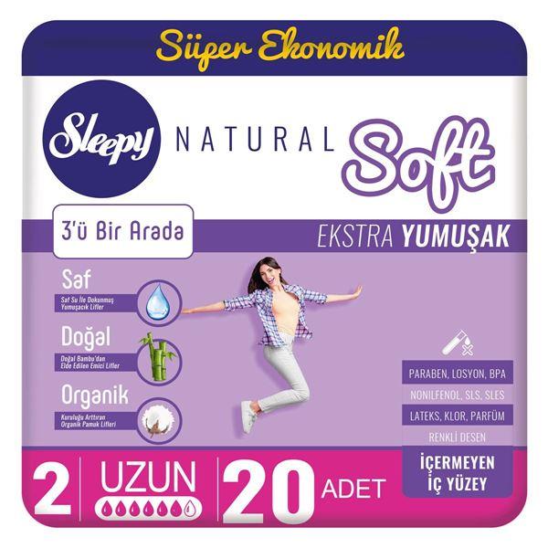 Resim Sleepy Natural Soft Ekstra Yumuşak Uzun(20 Ped)
