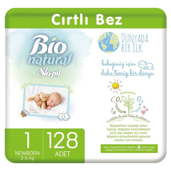 Bio Natural Bebek Bezi 1 Numara Yenidoğan 128 Adet