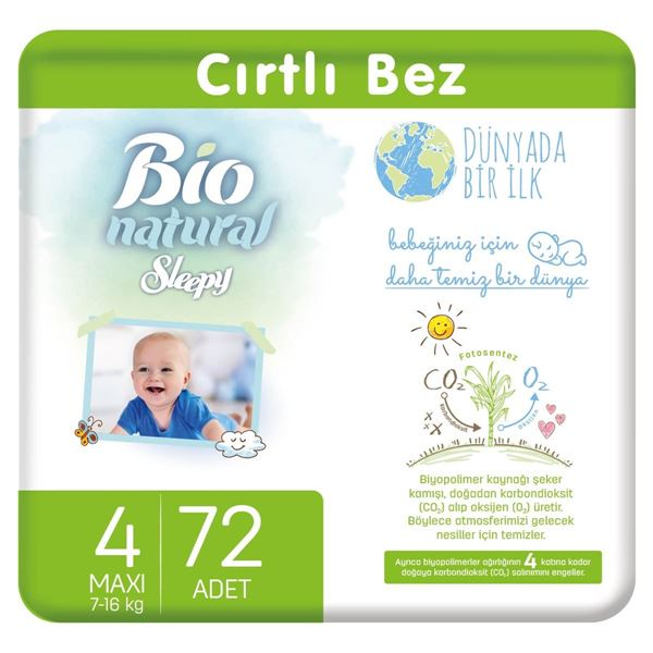 Bio Natural Bebek Bezi 4 Numara Maxi 72 Adet
