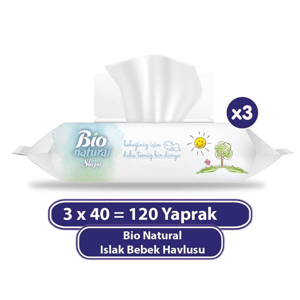 Bio Natural Islak Havlu 3x40 (120 Yaprak)